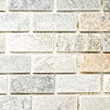 Mosaik Fliese Quarzit Naturstein Quarzit beige grau für BODEN WAND BAD WC DUSCHE KÜCHE FLIESENSPIEGEL THEKENVERKLEIDUNG BADEWANNENVERKLEIDUNG Mosaikmatte Mosaikplatte