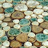 Hominter 6 Blatt Fliesenspiegel Bad- und Küchenfliesen Glasierte Keramik Kieselfliesen Hörform Porzellan Pool Fliesen Blau Creme Kaffee PPT009