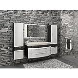 Badezimmermöbel Set Hochglanz weiß/Anthrazit mit 2 x Hochschrank und modernen LED-Licht-Spiegel
