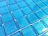 Glas Mosaik Fliesen Für Wand. Farbe ist Blau mit Glitzer (MT0008) (10cm x 10cm Muster)