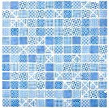 Retro Vintage Mosaik Fliese ECO Recycling GLAS ECO blau patchwork MOS145-P-40