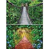 GREAT ART 2er Set XXL Poster – Grünes Paradies – Hängebrücke & Weinallee Tropen Regenwald Natur Weinreben Weg Natur Landschaft Wand-Bild Dekoration Fotoposter Wanddeko (140 x 100cm)