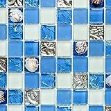 Mosaik Fliese Transluzent blau Glasmosaik Crystal Muschel blau für WAND BAD WC DUSCHE KÜCHE FLIESENSPIEGEL THEKENVERKLEIDUNG BADEWANNENVERKLEIDUNG Mosaikmatte Mosaikplatte