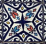 Casa Moro orientalische Keramikfliese Hanan 10x10 cm bunt handbemalte marokkanische Fliese Kunsthandwerk aus Marokko Wandfliese für schöne Küche Dusche Badezimmer | HBF8270