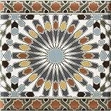 Casa Moro Marokkanische Fliesen-Bordüre Kasbah 20x20 cm mehrfarbig mit Mosaik-Muster | orientalische Bordüre für Bad & Küchenrückwand | schöne Küche Flur & Badezimmer | FL15679