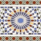 Casa Moro Marokkanische Fliesen-Bordüre Tanger 20x20 cm bunt mit Mosaik-Muster | Orientalische Wandfliese für Küche Badezimmer Flur Küchenrückwand | FL16012