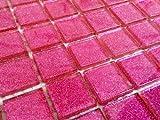 GTDE Klarglas Mosaik Fliesen Muster in dunklem Pink mit Glitzer. Verkleidung für Wände (MT0018) (10cm x 10cm Muster)