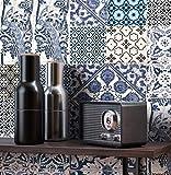 NEWROOM Tapete grafisch blau Fliesen Ornament Vintage Vliestapete creme Vlies Tapete Fliesenoptik Fliesenmuster Klassik inkl. Tapezier Ratgeber ǀ Grafik