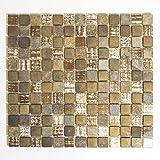Retro Vintage Mosaik Fliese Transluzent beige braun grau Glasmosaik Crystal Stein rustikal für WAND BAD WC DUSCHE KÜCHE FLIESENSPIEGEL THEKENVERKLEIDUNG BADEWANNENVERKLEIDUNG Mosaikmatte Mosaikplatte