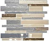 Mosaik Fliese Transluzent beige grau Verbund Glasmosaik Crystal Stein beige grau für WAND BAD WC DUSCHE KÜCHE FLIESENSPIEGEL THEKENVERKLEIDUNG BADEWANNENVERKLEIDUNG Mosaikmatte Mosaikplatte