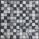 Marmor Mosaik Matte Schwarz/Grau/Weiss 30x30 cm Naturstein Fliesen Bad M661