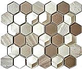 Mosaik Fliese Transluzent hellgrau Hexagon Glasmosaik Crystal Stein 3D hellgrau für WAND BAD WC DUSCHE KÜCHE FLIESENSPIEGEL THEKENVERKLEIDUNG BADEWANNENVERKLEIDUNG Mosaikmatte Mosaikplatte