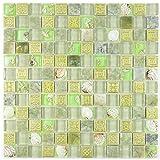 Mosaik Fliese Transluzent grün Glasmosaik Crystal Stein Muschel grün für WAND BAD WC DUSCHE KÜCHE FLIESENSPIEGEL THEKENVERKLEIDUNG BADEWANNENVERKLEIDUNG Mosaikmatte Mosaikplatte