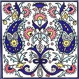 Casa Moro Orientalische Fliese handbemalte Keramikfliese Isa-1 14,8 x 14,8 cm Kunsthandwerk aus Palästina Wandfliese für schöne Küche Dusche Badezimmer Dekoration | FL8301