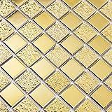 Hominter 6 Blatt Gold Quadrat Muster Porzellan Mosaik Bling Fliesen für Badezimmer Boden Wand Küche Backsplash HD-062