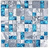 Mosaik Fliese Transluzent grau Kombination Glasmosaik Crystal Stein grau blau für WAND BAD WC DUSCHE KÜCHE FLIESENSPIEGEL THEKENVERKLEIDUNG BADEWANNENVERKLEIDUNG Mosaikmatte Mosaikplatte