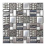 Glasfliesen in grau-silberner Box mit 5 Quadratmetern als Spritzschutz, metallische Edelstahl-Fliese, gebürstetes Metall, Wanddekoration, TSTGT151