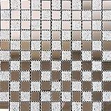 Glasmosaik Spiegel-Glas-Mix silber glitzernd 2,5x2,5x0,4cm 1 Tafel Mosako