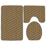 JOOCAR Badvorleger + WC-Deckelbezug + Badvorleger im Fliesen-Design inspiriert, bunte Quadrate mit diagonalen Streifen, Retro-Stil, weich und schön, Heimdekoration, 3-teiliges Set