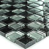 Glasmosaik Klarglasmosaik Fliesen Schwarz Grau Gestreift