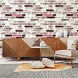 Selbstklebende Tapete, Stein-Tapete, selbstklebend, rot, grau, weiß, Ziegelstich, Vinyl-Tapete, wasserdichte Tapete für Wandsticker