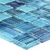 Glasmosaik Fliese Blau Gestreift