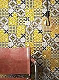 NEWROOM Tapete Gelb Vliestapete Fliesen - Fliesentapete Orientalisch Weiß Schwarz Mosaik Kacheln Fliesenoptik Grafisch Beton-Optik Mustertapete inkl. Tapezier-Ratgeber