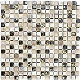 Mosaik Fliese Transluzent hellgrau gold Glasmosaik Crystal Stein EP hellgrau gold für WAND KÜCHE FLIESENSPIEGEL THEKENVERKLEIDUNG Mosaikmatte Mosaikplatte