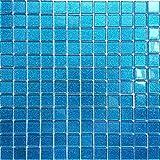 Glas Mosaik Fliesen Für Wand. Farbe ist Blau mit Glitzer (MT0008) (30cm x 30cm Matte)