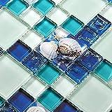 GC370 Fliese mit Glasrückwand, Kunstharz, Blau/Weiß Box of 5 Sheet blau/weiß