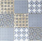 Retro Vintage Mosaik Fliese Keramik weiß blau orange grau MOS22B-1404