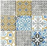 Retro Vintage Mosaik Fliesen Mosaikfliesen Keramikmosaik Keramik Kachel creme blau orange grau matt