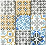 Retro Vintage Mosaik Fliese Keramik creme blau orange grau matt MOS22B-1406_f   10 Mosaikmatten
