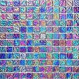 1qm Glas Mosaik Fliesen Matte Violett mit mehrfarbigem Schimmer Lustrous irisierend (MT0042 m2)