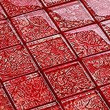 Glasmosaik Rot-Effekt 4,8 x 4,8 cm Fliesen Mosaik 8 mm